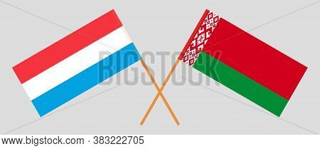 Crossed Flags Of Belarus And Luxembourg. Official Colors. Correct Proportion. Vector Illustration