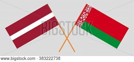 Crossed Flags Of Belarus And Latvia. Official Colors. Correct Proportion. Vector Illustration