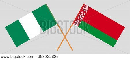 Crossed Flags Of Belarus And Nigeria. Official Colors. Correct Proportion. Vector Illustration