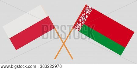 Crossed Flags Of Belarus And Poland. Official Colors. Correct Proportion. Vector Illustration