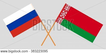 Crossed Flags Of Belarus And Russia. Official Colors. Correct Proportion. Vector Illustration