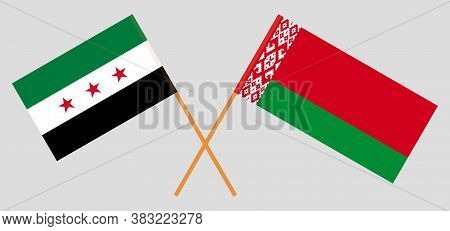 Crossed Flags Of Belarus And Interim Government Of Syria. Official Colors. Correct Proportion. Vecto