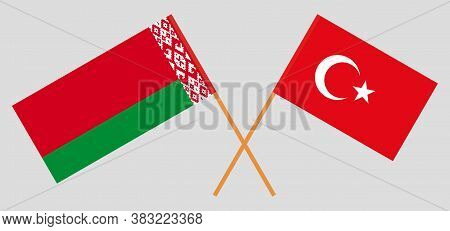 Crossed Flags Of Belarus And Turkey. Official Colors. Correct Proportion. Vector Illustration