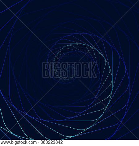 Swirling Lighting Symbol. Optical Illusion. Twisted Blue Wormhole. 3d Wireframe Abstract Tunnel. Vec