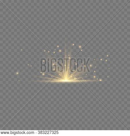 Transparent Shining Sun, Bright Flash. Yellow Glowing Light Explodes On A Transparent Background. To