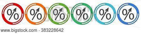 Percent Up Arrow Icon, Speedy Economic Growth Concept. 6 Colors Option Icon. Vector Illustration Fla