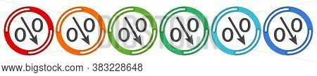 Percent Down Arrow Icon, Speedy Economic Growth Concept. 6 Colors Option Icon. Vector Illustration F