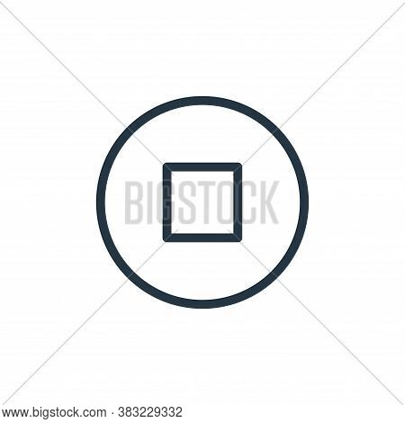 stop button icon isolated on white background from media player collection. stop button icon trendy