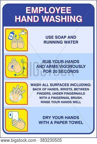Set Of Wash Your Hand Mandatory Sign For Employee Or Warning Sign Corona Virus Poster