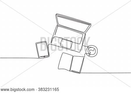 One Continuous Line Drawing Of And Computer Laptop, Smartphone, Tablet And Book A Cup Of Coffee At B