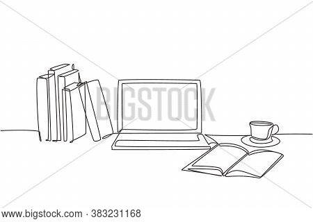 One Continuous Line Drawing Of Stack Of Books Line Up With Computer Laptop, Book And A Cup Of Coffee