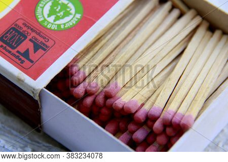 Salvador, Bahia / Brazil - November 7, 2013: Box With Matchsticks Are Seen In Kitchen In The City Of
