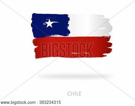 Chile Flag With Brush Paint Textured, Background, Symbols Of Chile, Graphic Designer Element - Vecto