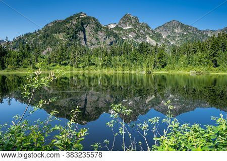 Picture Lake And Mt Shuksan In The Mt Baker National Recreation Area Of Washington State