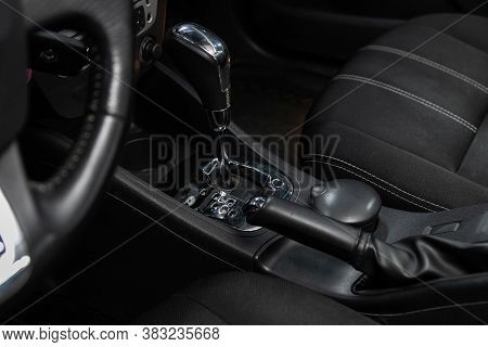 Novosibirsk/ Russia - August 01  2020: Renault Fluence, Close Up Of The Manual Gearbox Transmission