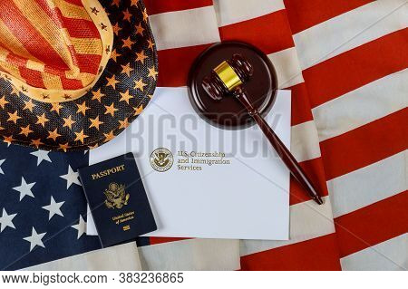 U.s Deportation Immigration Justice And Law Concept American Flag Official Department Uscis Departme