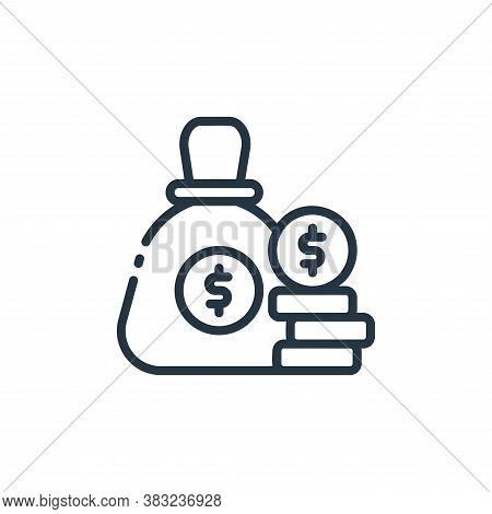 money bag icon isolated on white background from finance collection. money bag icon trendy and moder