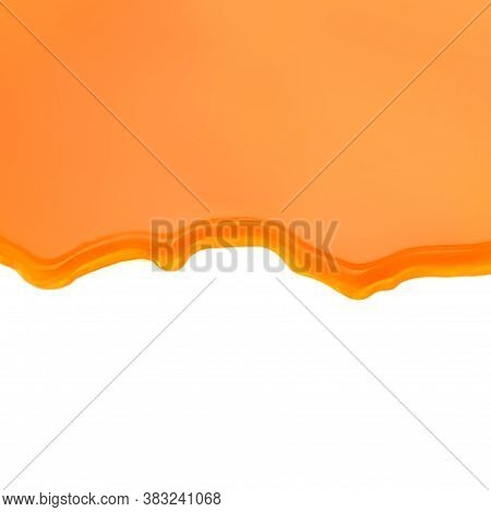 Pouring Caramel Sauce Isolated On White Background. Flowing Golden Butterscotch Toffee Caramel Liqui