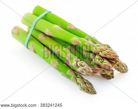 Asparagus Isolated On White Background. Raw Asparagus Vegetables Top View.