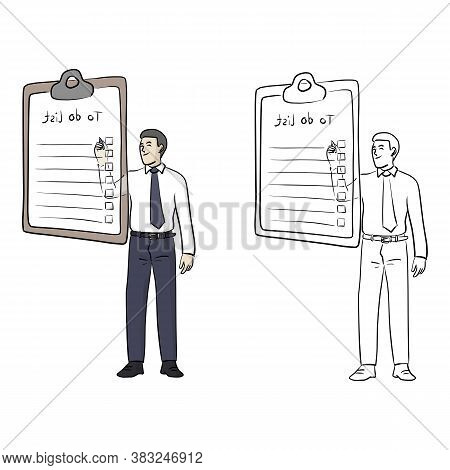Businessman Writing On Blank To Do List Vector Illustration Sketch Doodle Hand Drawn With Black Line