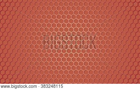 Light Red Metallic Hexagon Textured Steel Background. Red Carbon Fiber Texture. Web Design Template.