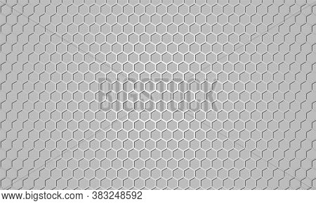 Silver Carbon Fiber Texture. Gray Metallic Hexagonal Textured Background. Web Design Template. Abstr