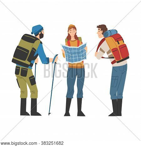 Friends Hiking On Nature, Travelers With Backpacks And Route Map, Summer Adventure Trip Cartoon Styl