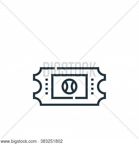 ticket icon isolated on white background from baseball collection. ticket icon trendy and modern tic