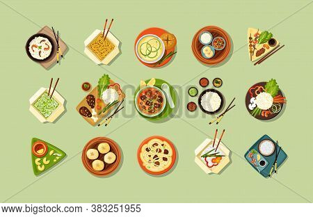 Asian Traditional Cuisine And Fast Food Set. Hearty Food Served On Plates And In Bags Chinese Dumpli