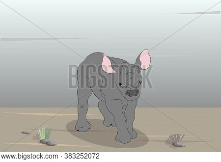 Vector Illustration Of A Rhinoceros In Nature, Vector