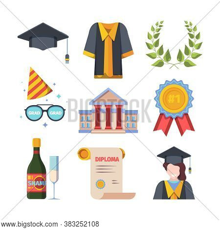 Graduation From Educational Institution Set. Bachelors Hat With Tassel Toga University Building Spec