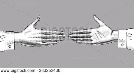 Two hands reach out towards each other. Vintage engraving stylized drawing