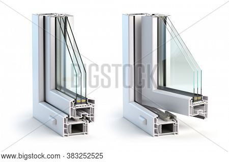 Cross section of plastic windows profile PVC isolated on white background. Open and closed window, ?ross section. 3d illustration