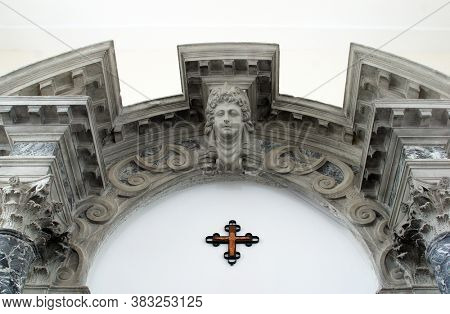NOVALJA, CROATIA - SEPTEMBER 29, 2013: Angel, statue on the altar at St. Mary's Church in Novalja, Croatia