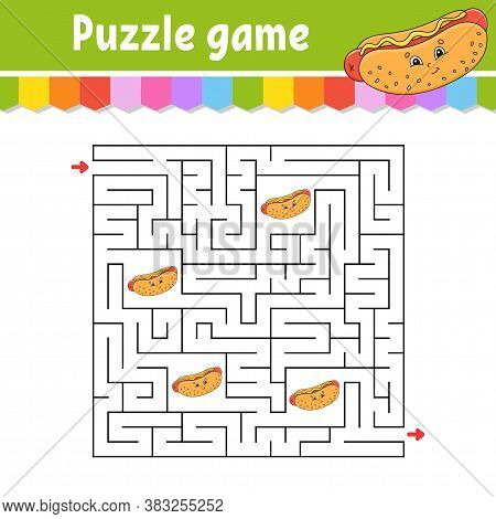 Square Maze. Game For Kids. Puzzle For Children. Labyrinth Conundrum. Color Vector Illustration. Fin