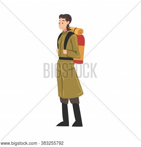 Girl Tourist Character Hiking On Nature, Woman In Explorer Outfit Standing With Backpack, Summer Adv