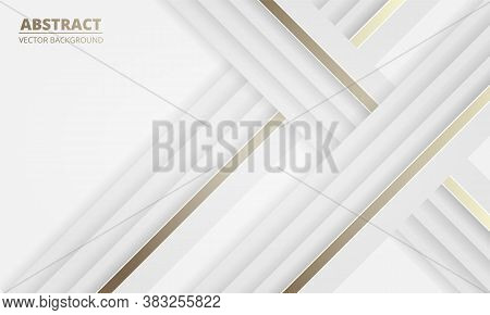 White Luxury Light Abstract Background With Gold And White Lines. Modern White Banner With Luminous