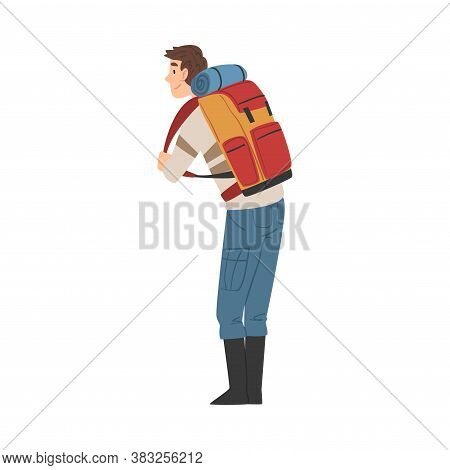Male Tourist Character Hiking On Nature, Back View Of Man With Backpack, Summer Adventure Trip Carto