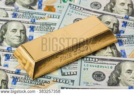 Gold bars and money - business background