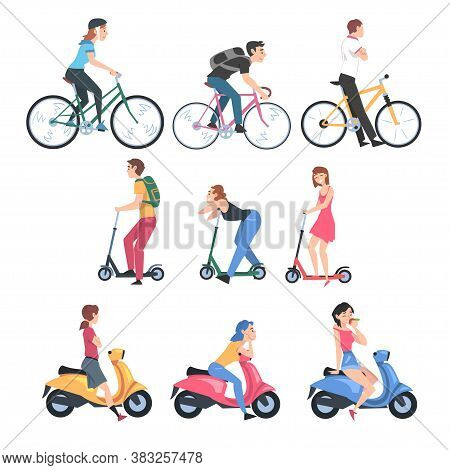 People Riding Bicycles, Kick Scooters And Scooters Set, Side View Of Young Men And Women Driving Two