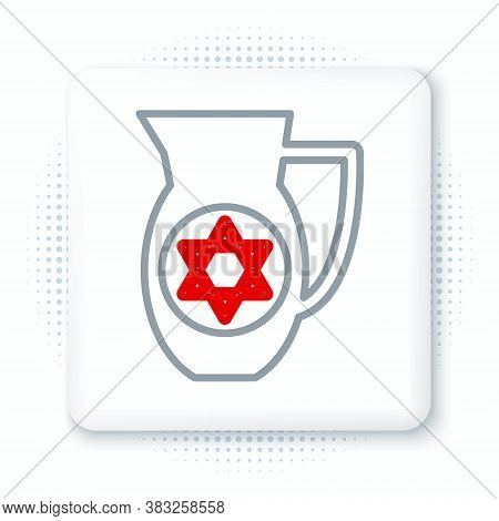 Line Decanter With Star Of David Icon Isolated On White Background. Pottery Jug. Organic Product In