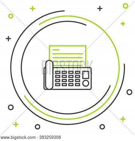 Line Fax Machine Icon Isolated On White Background. Office Telephone. Colorful Outline Concept. Vect