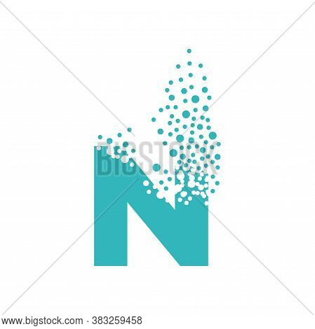 Letter N Dispersing Into A Cloud Of Bubbles.
