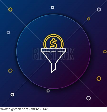 Line Lead Management Icon Isolated On Blue Background. Funnel With Money. Target Client Business Con