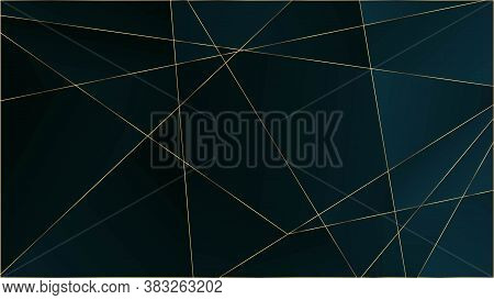 Blue Premium Triangular Texture. Silver Vip Rich Geometric Celebration Wallpaper. Gold Lines Polygon