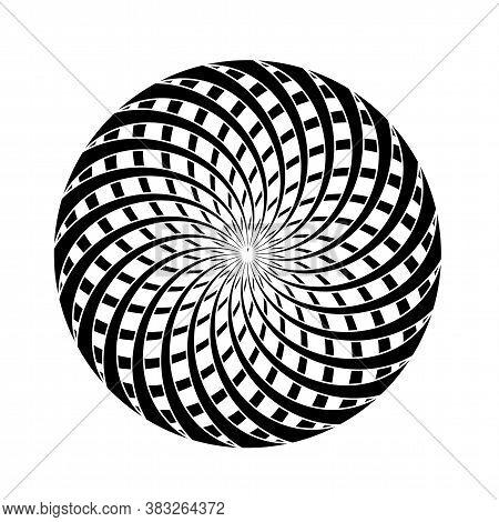 Black White Spiral Serpentine In Round Shape. Ball Circle Frame. Diagonal Swirls Illusion Effect. Ve