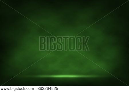 Green Fog Or Smoke With Light Special Effect Background. Cloudiness, Mist Smog Or Chemistry Toxic Fu