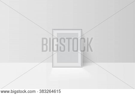Realistic Vector Tree-dimension Empty Blank White Simple Frame Mockup Template Isolated On Light Bac