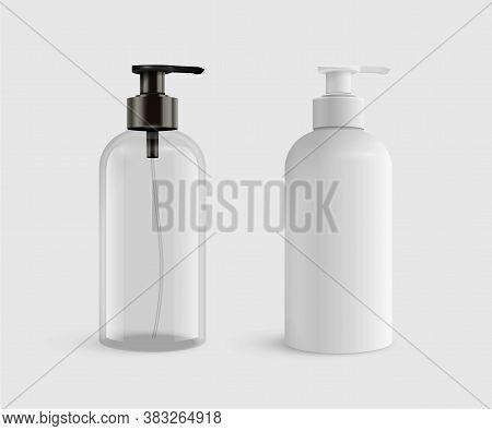 Hand Sanitizer Gel For Hand Hygiene Coronavirus Protection. Vector 3d Realistic Blank Plastic Transp