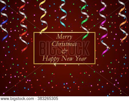 Happy New Year And Christmas Holiday Background. Red Gradient Background With Colorful Serpentine An